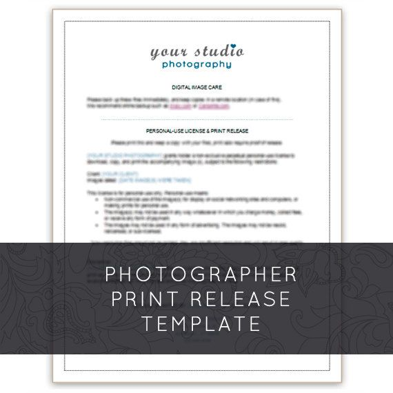This is a PRINT RELEASE AND DIGITAL IMAGE CARE business form for - commercial business form