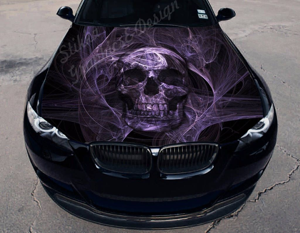 Vinyl car hood full color wrap graphics decal skull deaths head sticker by stikkagraphicsdesign on etsy