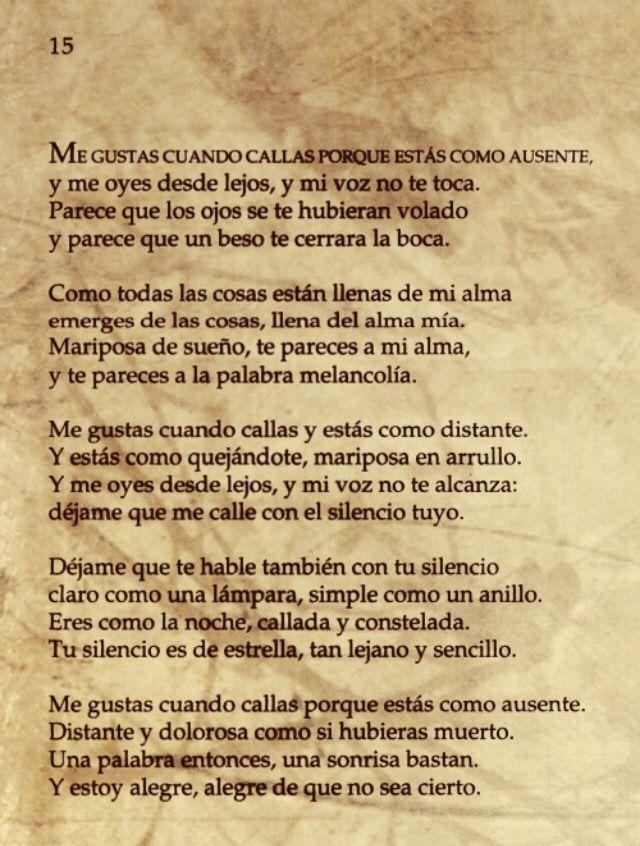 Poema 15 Veinte Poemas De Amor Y Una Cancion Desesperada Pablo