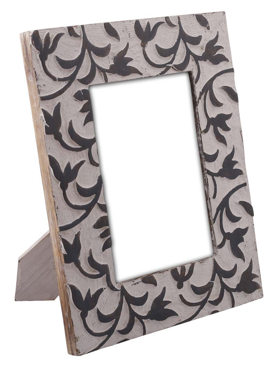 Bulk Wholesale Hand Carved 5x7 Mango Wood Photo Frame Picture Holder With Leafy Pattern In Black W Handmade Photo Frames Picture Frames Wood Picture Frames