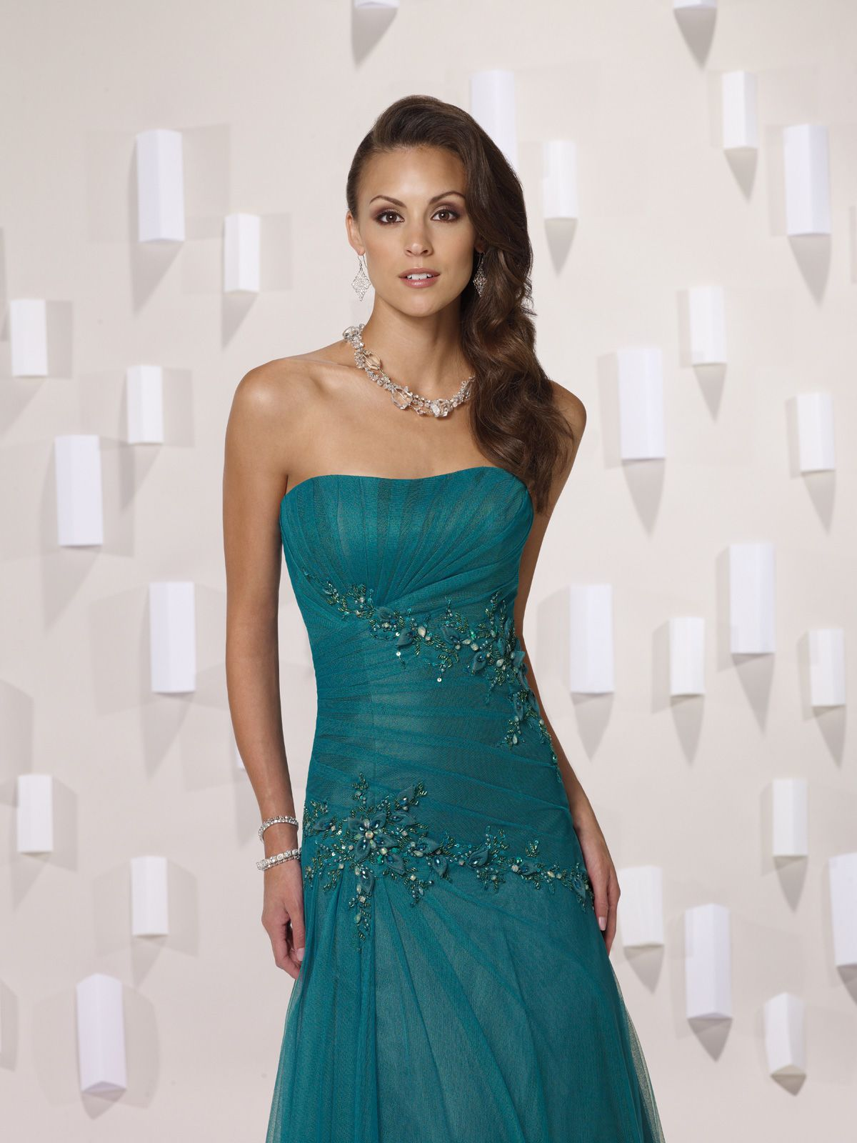 Strapless with dropped waist A-line bridesmaid dress | teal dress ...