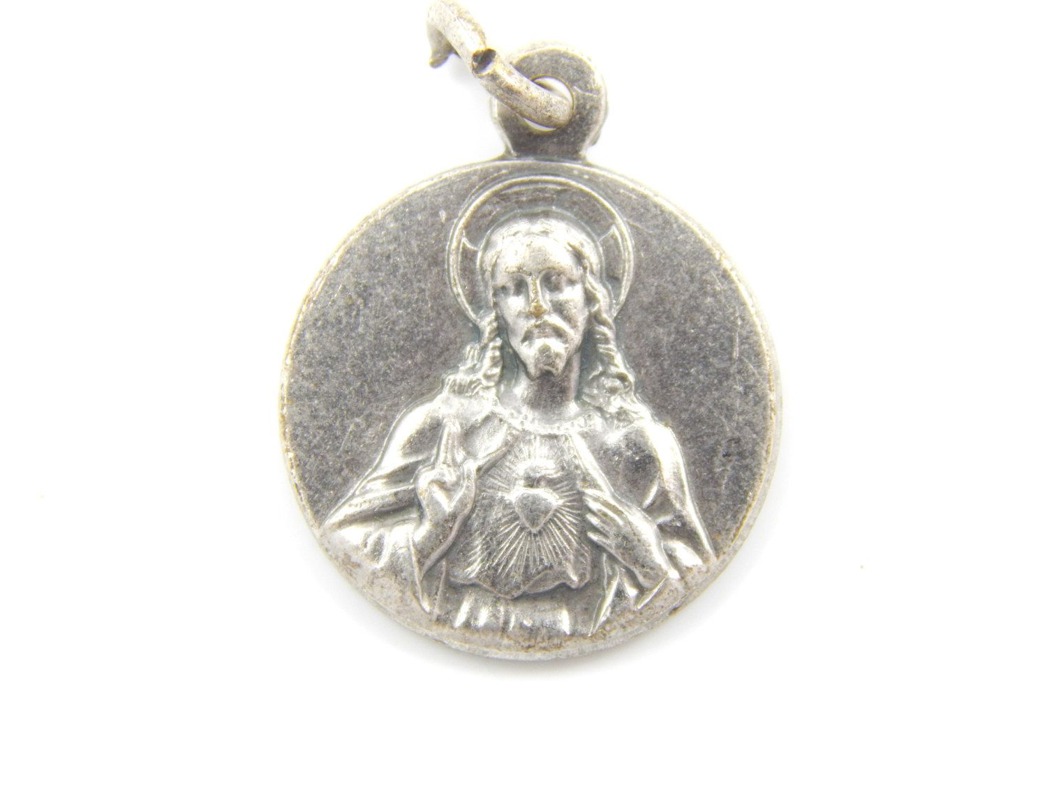 vintage virgin scapular religious mary large medal charms medallion jewelry pin catholic french