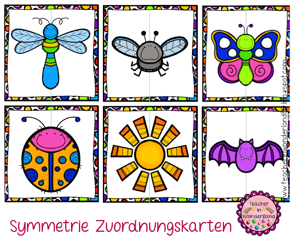 teacher in wonderland symmetrie zuordnungskarten teil 2 geometrie in der grundschule. Black Bedroom Furniture Sets. Home Design Ideas