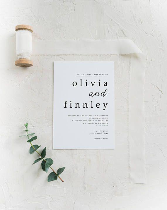 Minimalist Wedding Invitation | Simple Wedding Invitation