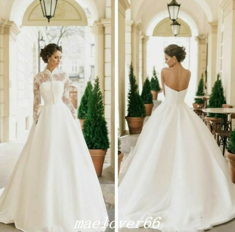 2019 Modest Satin A Line Wedding Dresses With Jacket Long Sleeve