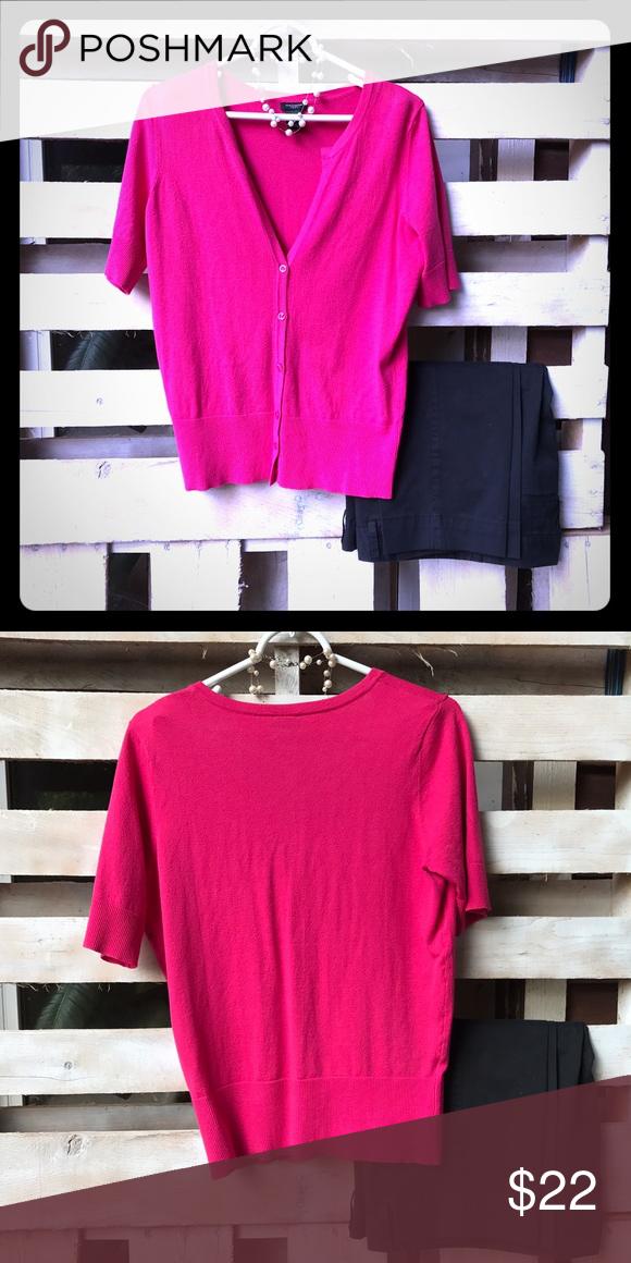 Ann Taylor hot pink short sleeve cardigan | Hot pink shorts, Pink ...