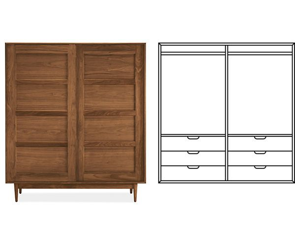 Beau Room U0026 Board   Grove Anywhere Armoire With Double Short Wardrobes U0026 6  Drawers