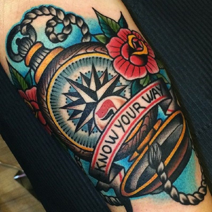 Traditional Compass With Quote Tattoo With Small Roses
