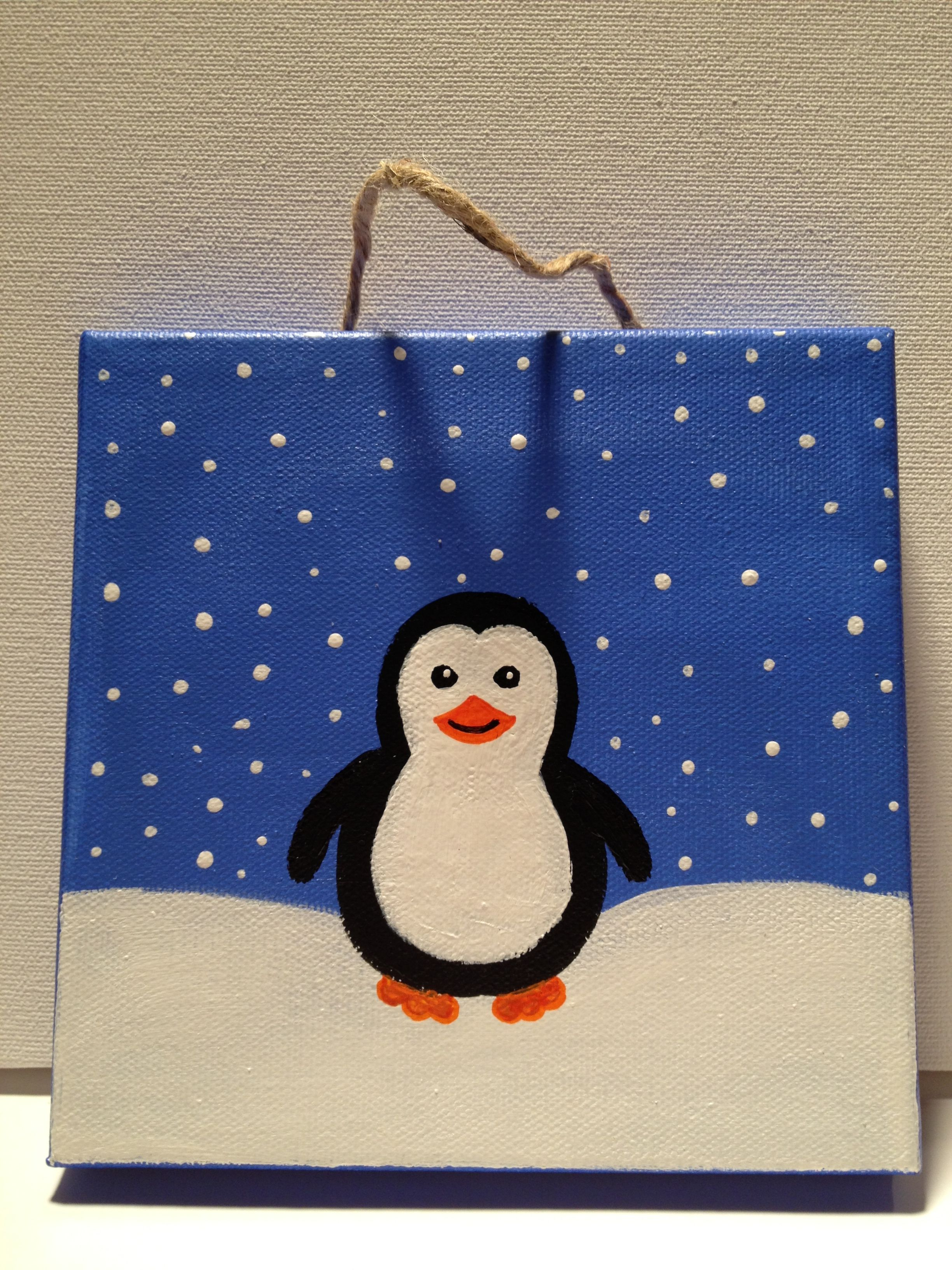 Penguin painting on canvas jp designs pinterest for Canvas art ideas for kids