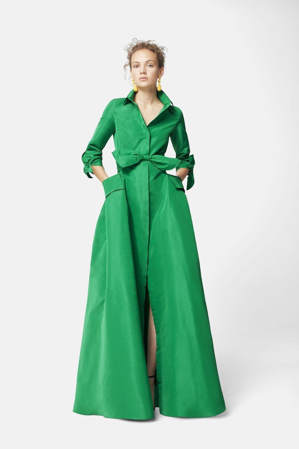 2a5d85a7ce0b7d Vestido camisero de tafeta VERDE | modas V | Vestidos camiseros ...