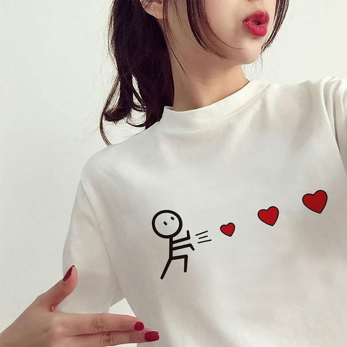 LASPERAL Camiseta Mujeres 2018 Verano T ocasional de la camisa de las señoras de manga corta Blusa amor del corazón impresión de la historieta tee remata tes femeninas