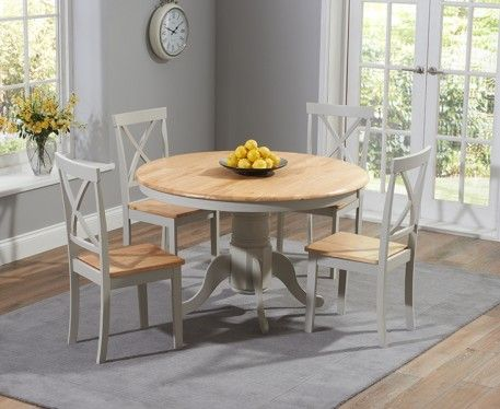 Shop The Epsom Oak And Grey Round Pedestal Dining Set At Furniture Superstore Quick Delivery With APR Available