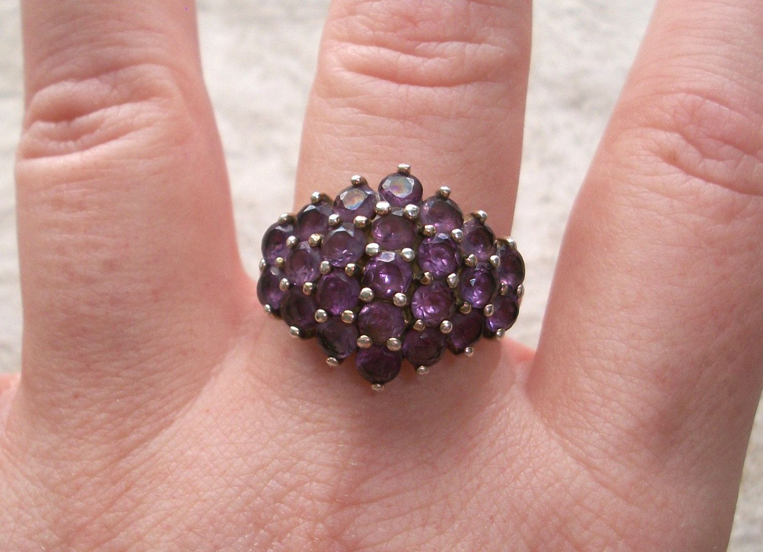 Vintage Pre-owned signed 925 R China Sterling silver ring,Purple ...