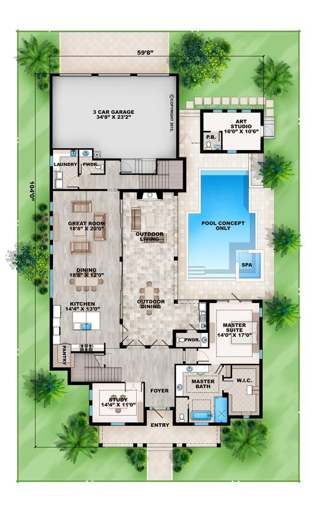 House Plan 20700080 Florida Plan 4,346 Square Feet, 5