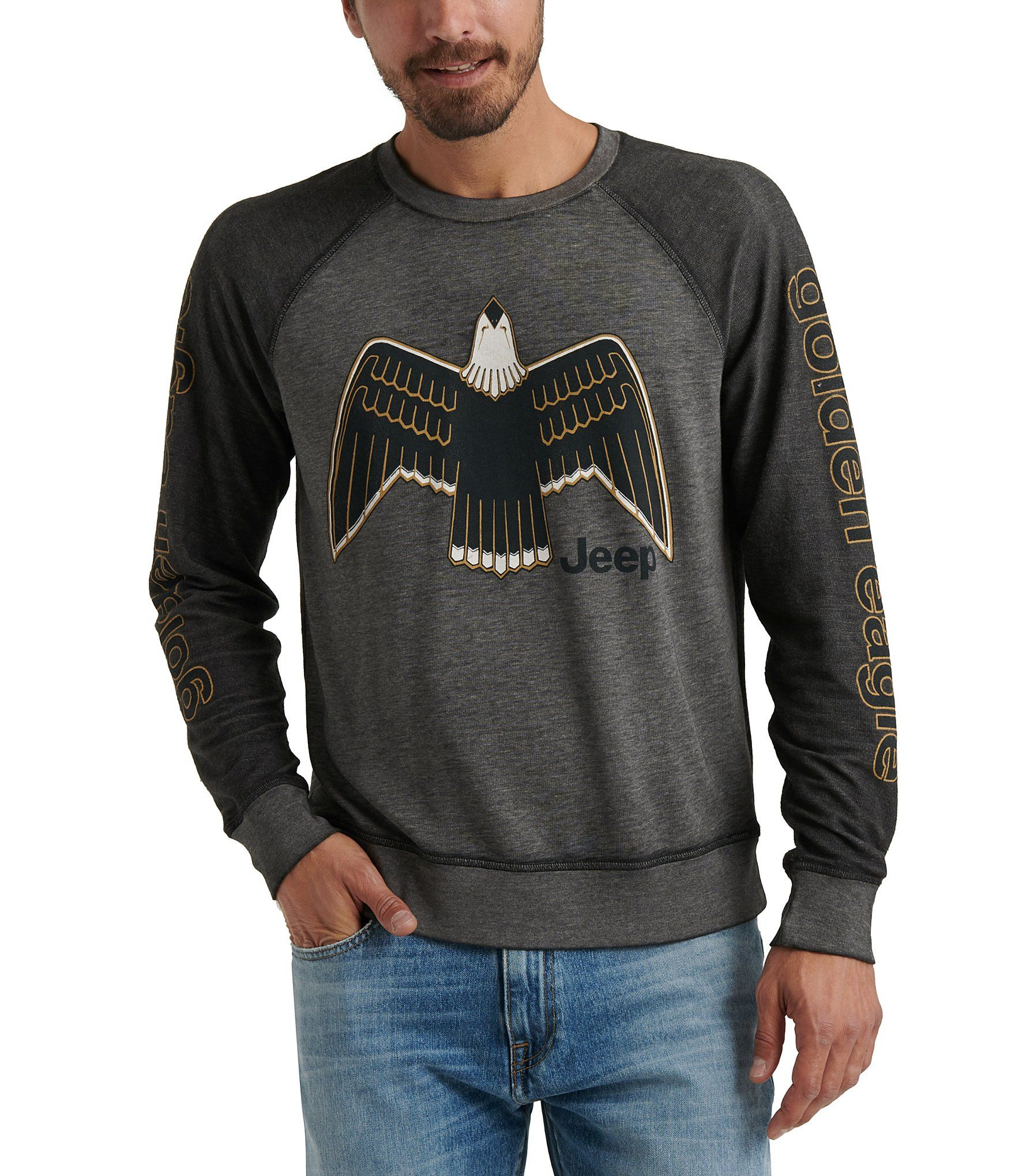 Lucky Brand Jeep Eagle Long Sleeve Burnout Crew Sweatshirt Jet