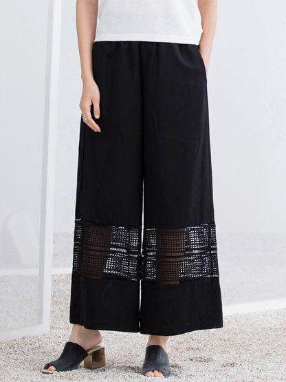 #AdoreWe #StyleWe AMII REDEFINE Black Polyester Simple Plain Wide Leg Pants - AdoreWe.com