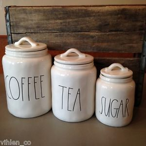 Rae Dunn Coffee Tea Sugar Canister Set Of 3 Magenta Inc