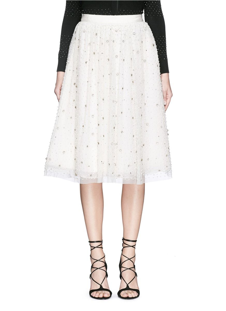 ALICE + OLIVIA 'Catrina' Beaded Tulle Midi Skirt  #alice+