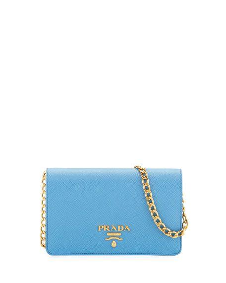 f2a7c3a5e6672b PRADA Saffiano Flap Crossbody Wallet-On-Chain, Blue. #prada ...