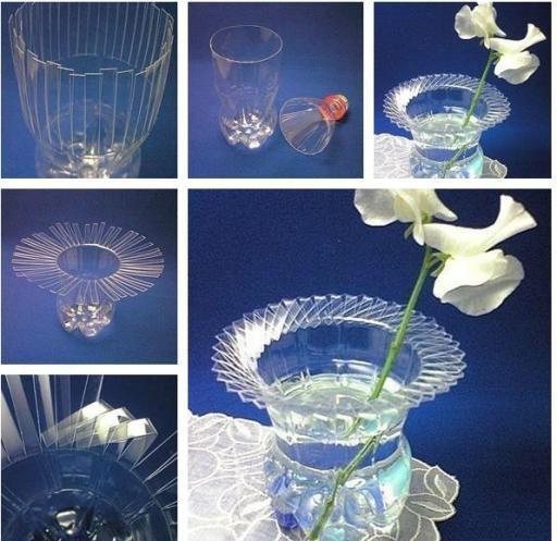 recycler bouteille plastique en vase tutoriel gratuit diy pinterest craft. Black Bedroom Furniture Sets. Home Design Ideas