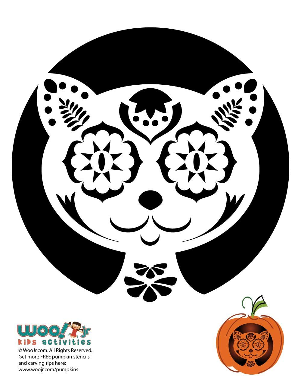 Day Of The Dead Cat Carving Pattern