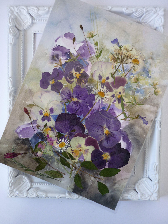 Pressed Flower Art Pressed Botanicals Pansies Art Art Etsy Pressed Flower Art Pansies Art Pressed Flowers