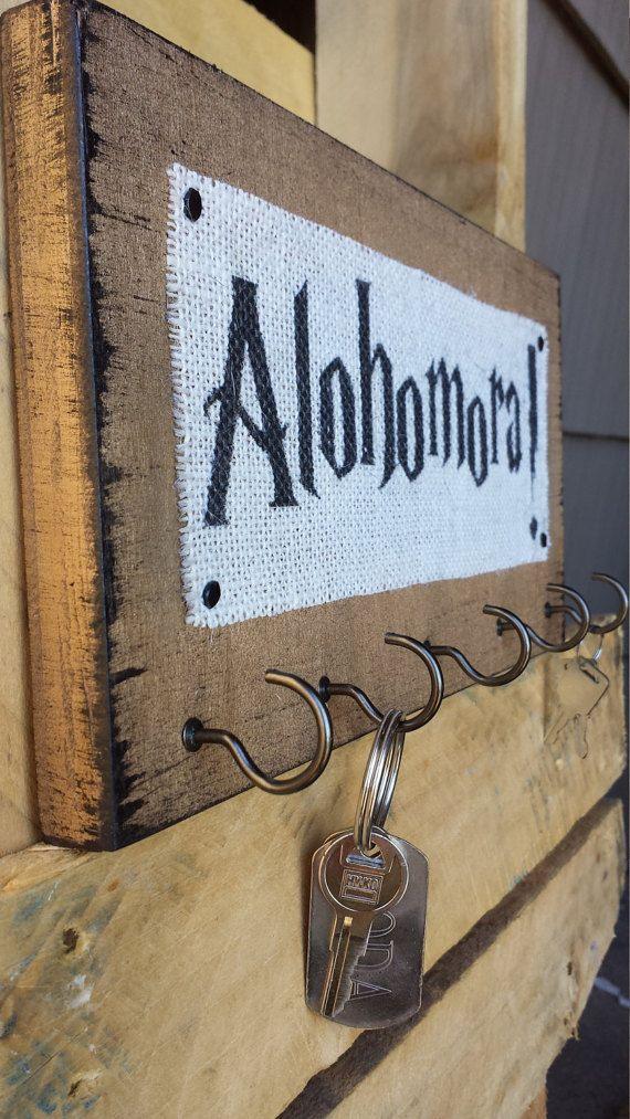 Harry Potter Burlap and Wood Key Hooks Alohomora by HashtagAdorbs
