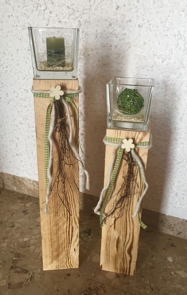 2er-Set Säulen mit Glas dekoriert -Frühling grün