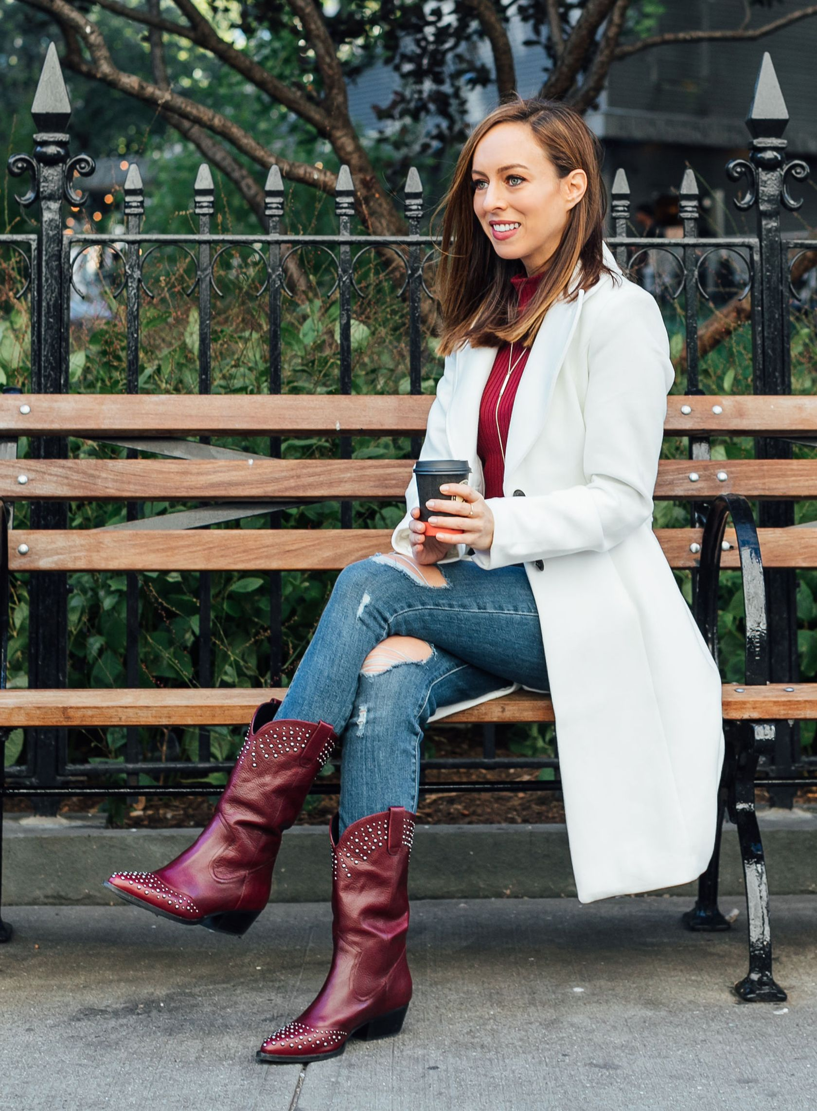 c9719b961011 Sydne Style shows how to wear cowboy boots with jeans and white coat  coats   jeans  boots  cowboyboots  sydnesummer