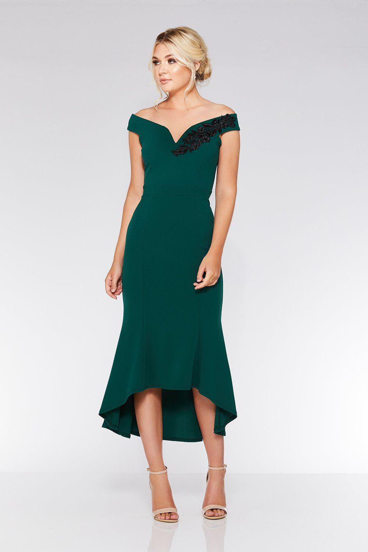 Bottle Green Bardot Dip Hem Dress | Green wedding guest ...