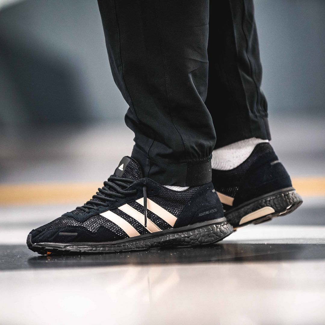 buy popular 1248e b1151 Release Date  April 14, 2018 Adidas x UNDEFEATED Adizero Adios 3 Navy   Beige Credit  Afew