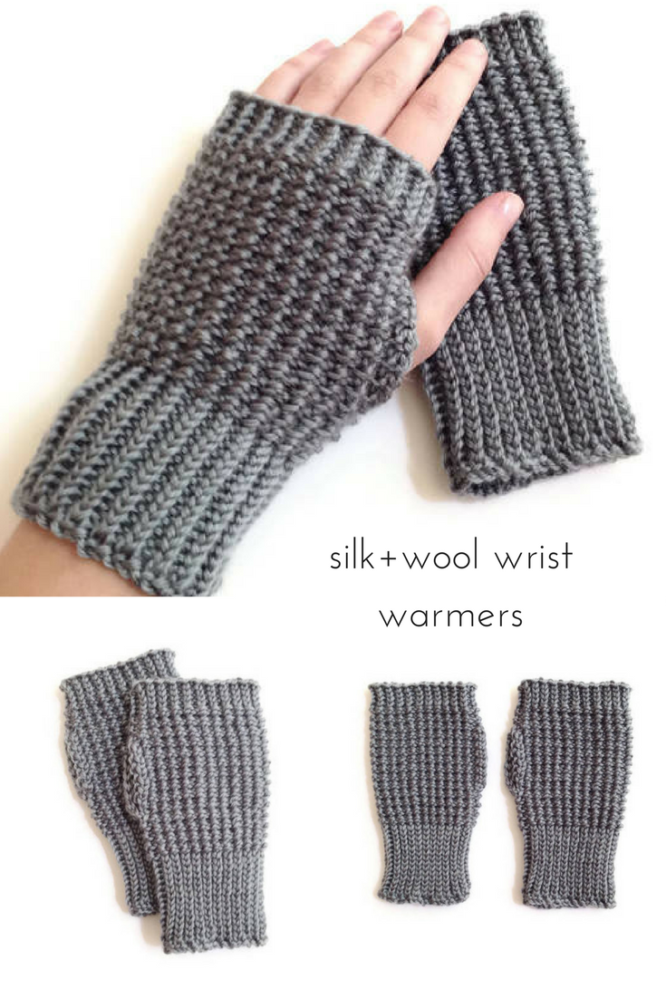 Silk wool wrist warmers womens hand knit fingerless gloves silk wool wrist warmers womens hand knit fingerless gloves for fall or winter bankloansurffo Image collections