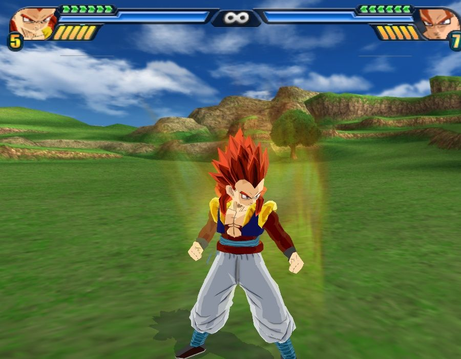 Gotenks SSJ4 with enrolled tail in the game Dragon Ball Z Budokai