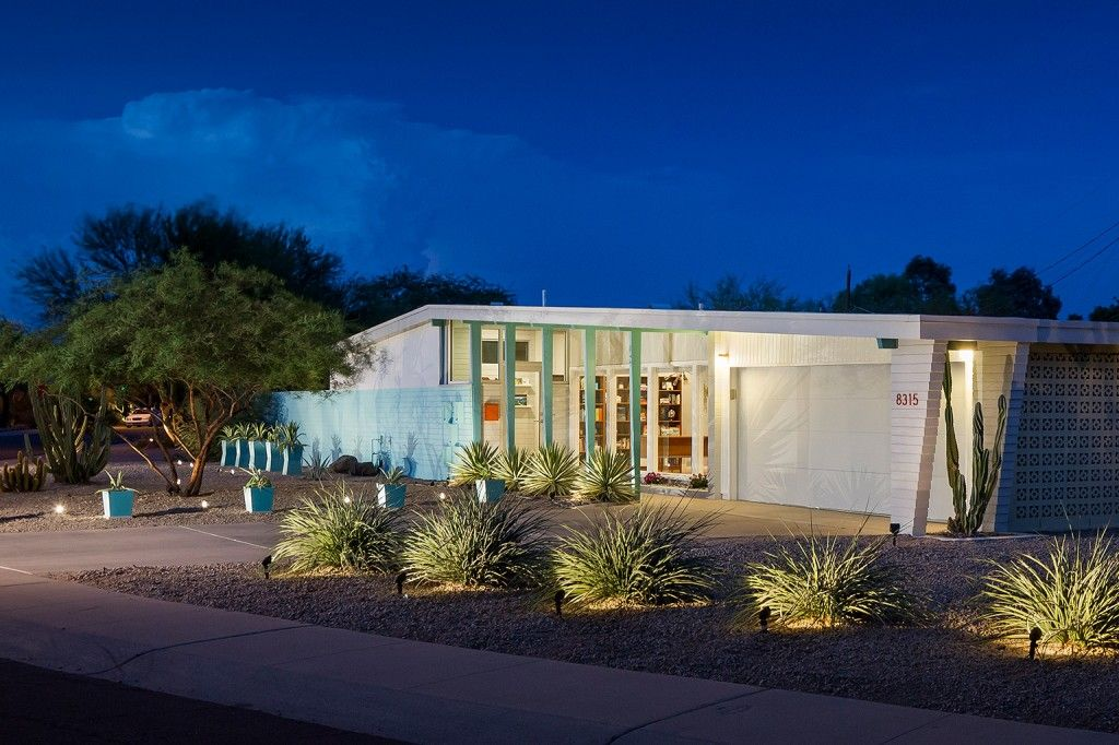 front elevation mcm mid century modern contemporary glass wall