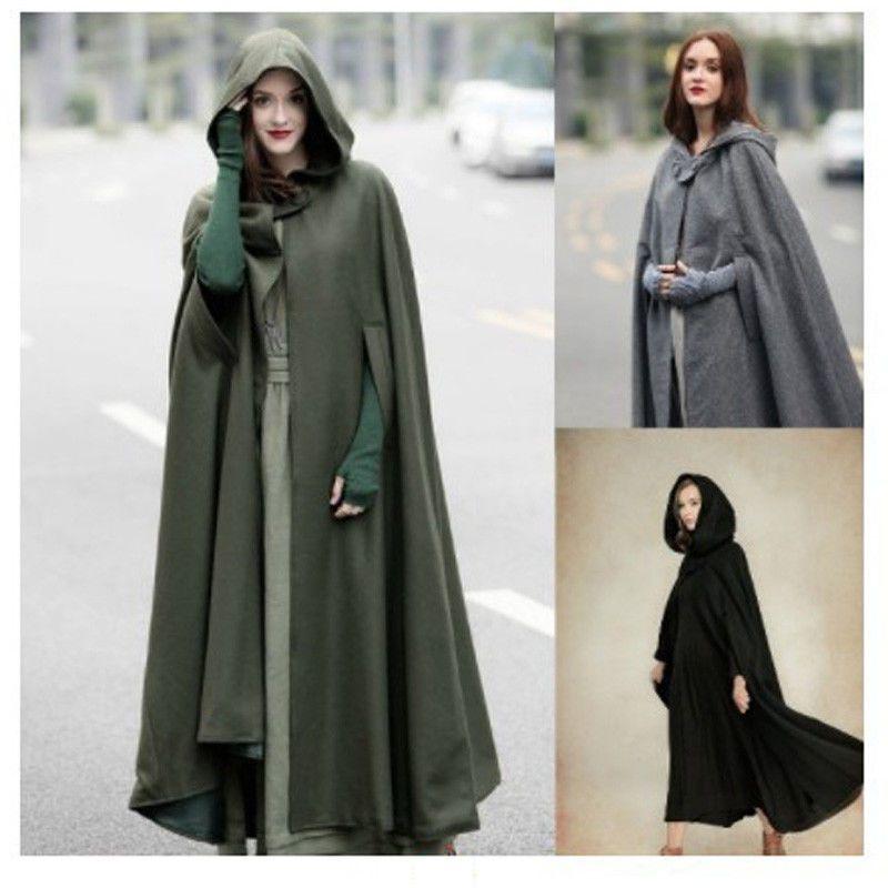 details zu damen lange cape mit kapuze mantel rmellose winter poncho cardigan outwear hei. Black Bedroom Furniture Sets. Home Design Ideas