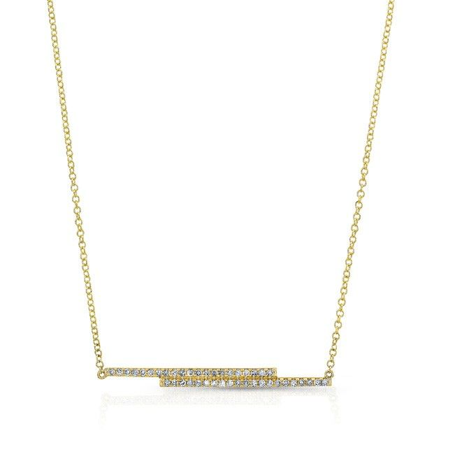 14K YELLOW GOLD FASHION BAR DIAMOND PENDANT COMPLEMENTED WITH ROUND WHITE DIAMONDS, AND FEATURES 0.21 CARAT TOTAL WEIGHT