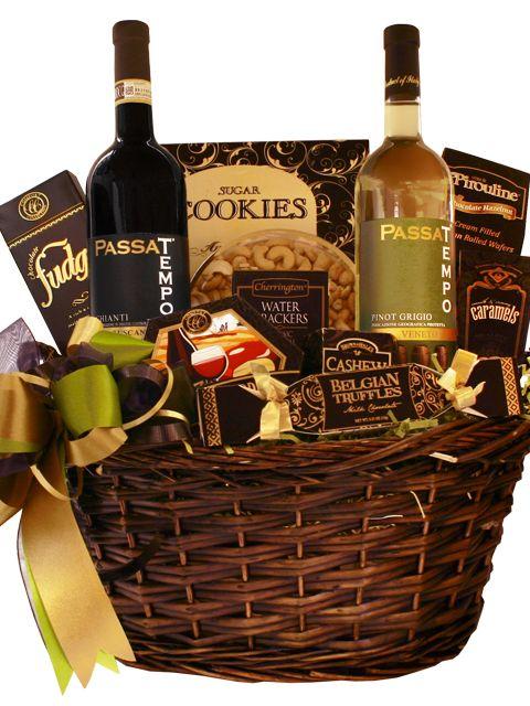 Passa Tempo Double Wine Gift Basket - Pinot Grigio and Chianti