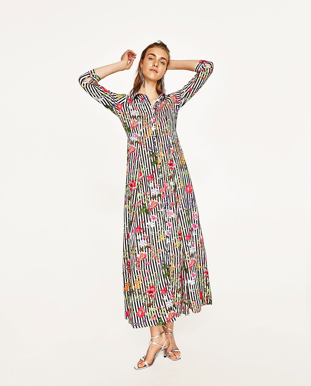 b42aeb3064c3 Image 1 of LONG STRIPED AND FLORAL PRINT DRESS from Zara | Fashion ...