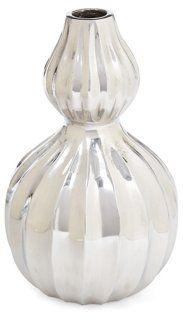 """7"""" Harvest Kettle Vase, Silver $15"""