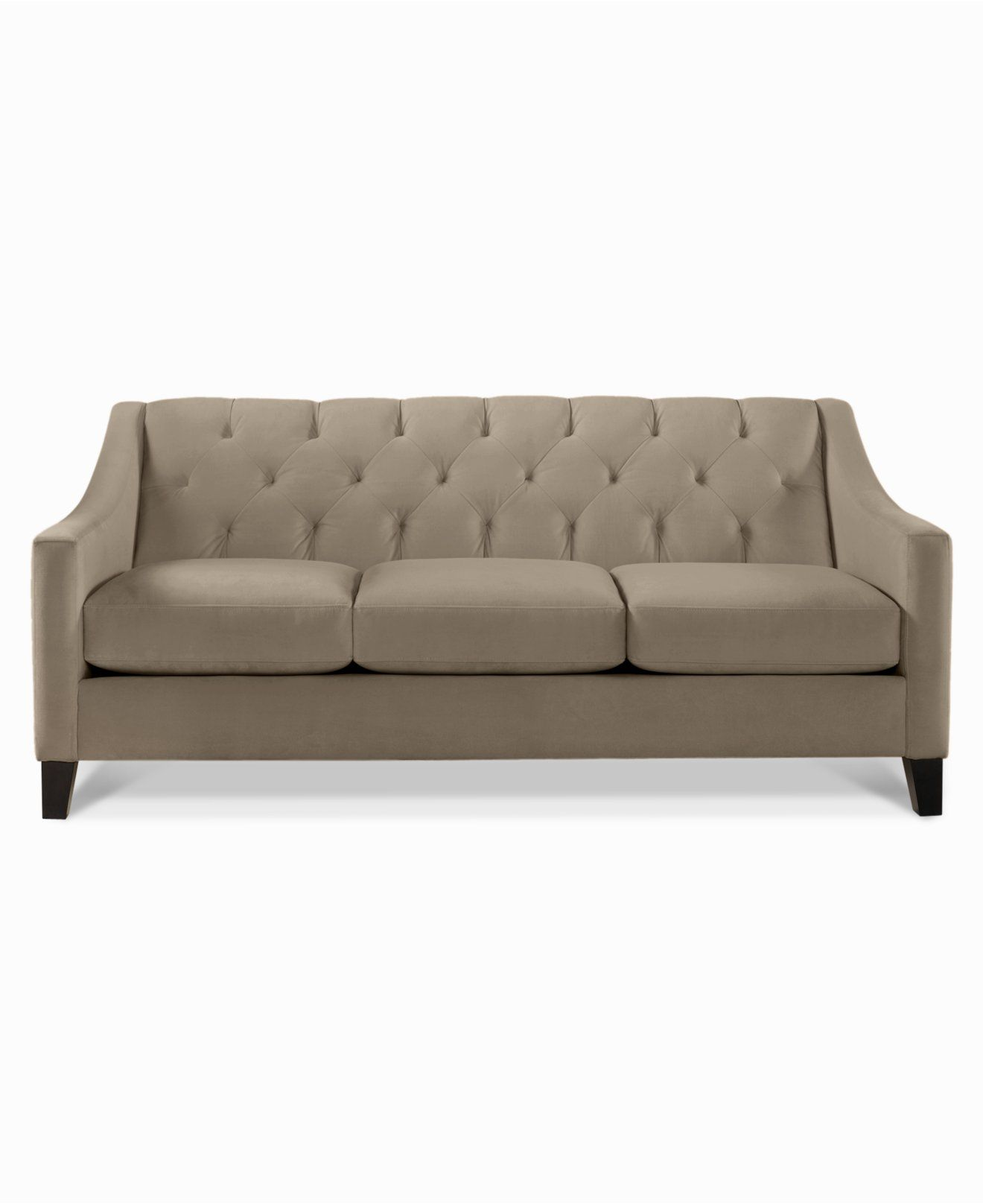 Chloe Velvet Tufted Sofa   Couches U0026 Sofas   Furniture   Macyu0027s // Granite  $599