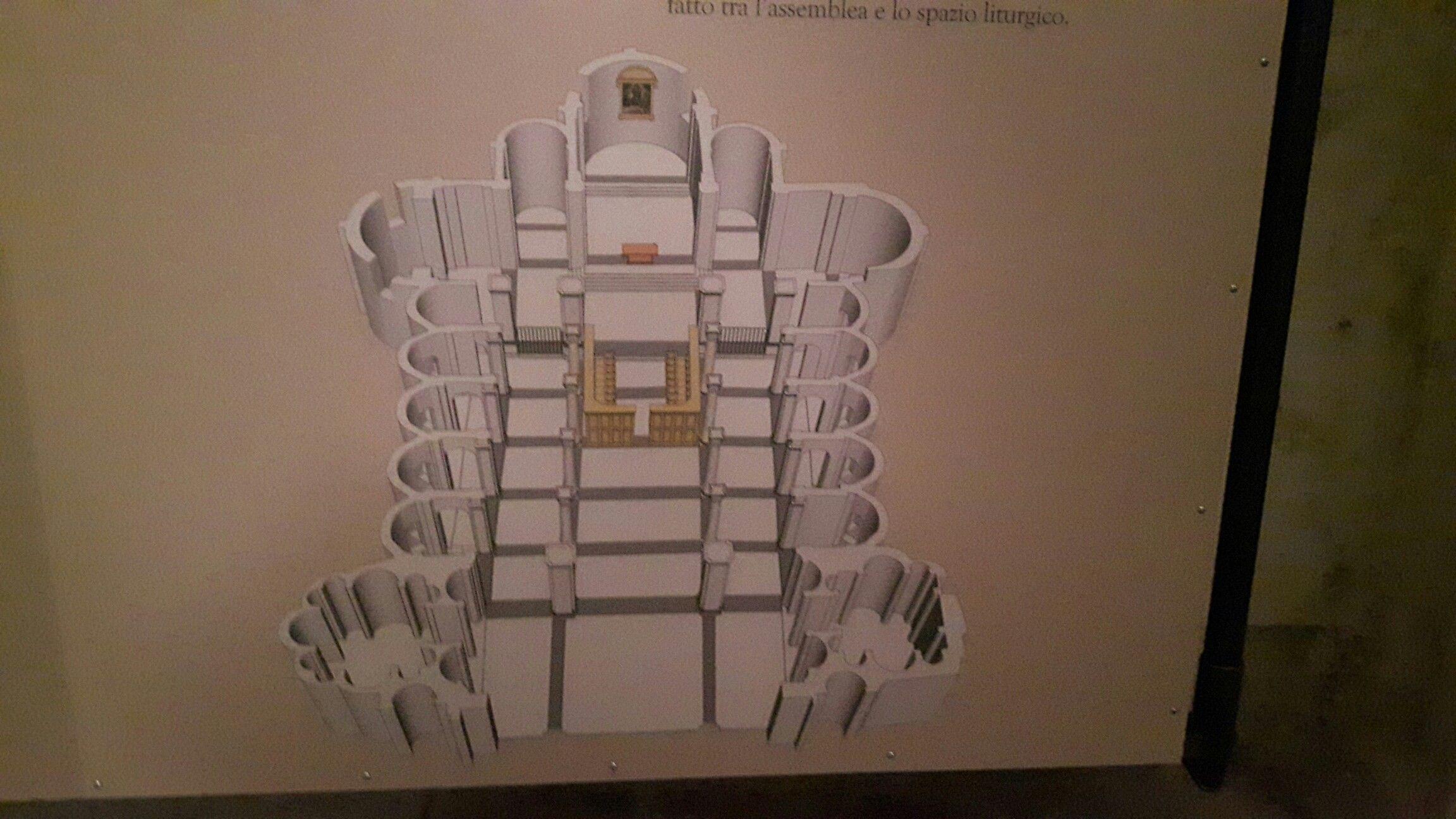 Chiesa di San Sisto a Piacenza.  Architetto Alessio Tramello.  1490-1511. Ricostruzione dell'assetto originario con il coro al centro della navata principale