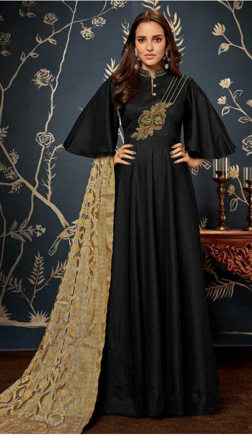 f39054b6e1a Classy Black Color Art Silk Party Readymade Gown | 58227491 #readymadegown # gown #fashion #salwarkameez #heenastyle