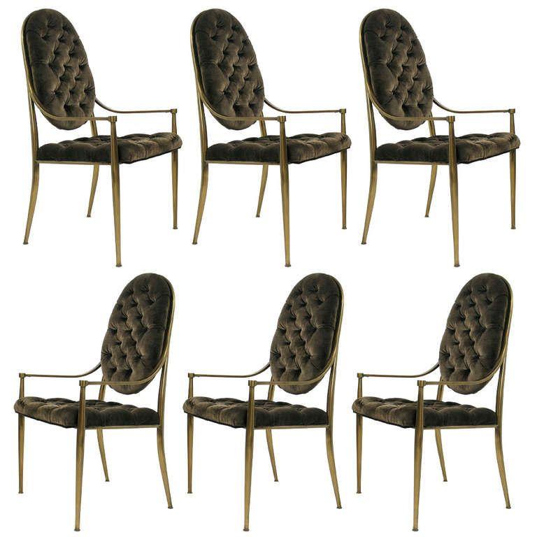 Set Of Six Brass Dining Chairs By Mastercraft 1stdibs Com