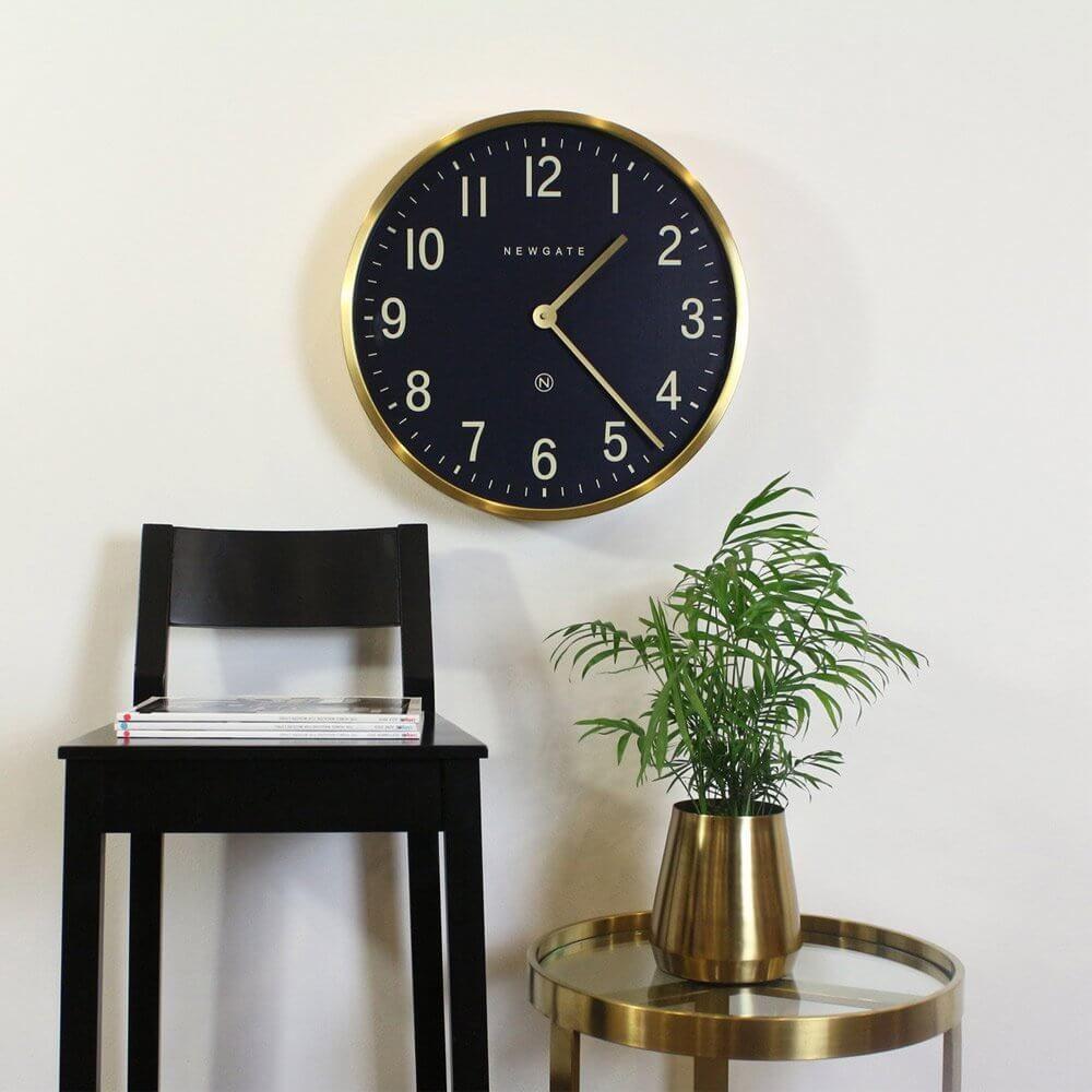 Newgate Mr Edwards Wall Clock Radial Brass Petrol Blue Wall Clock Newgate Clocks Clock