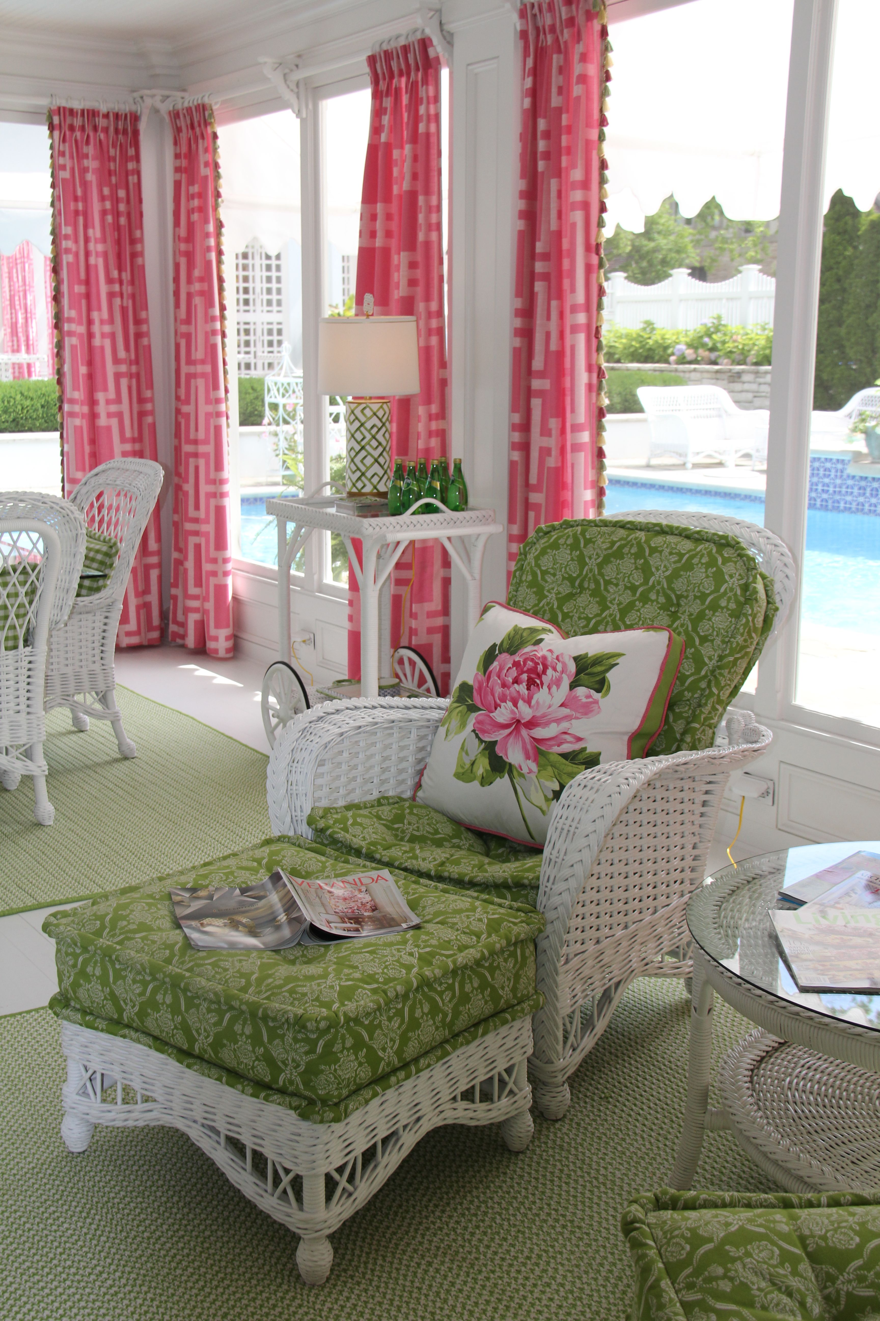 Porch White Wicker Pink And Green. Kimberly Mccluskey