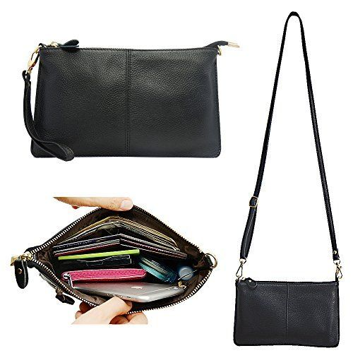 Womens black soft genuine leather purse wrist-let Cross-body strap Wallet clutch