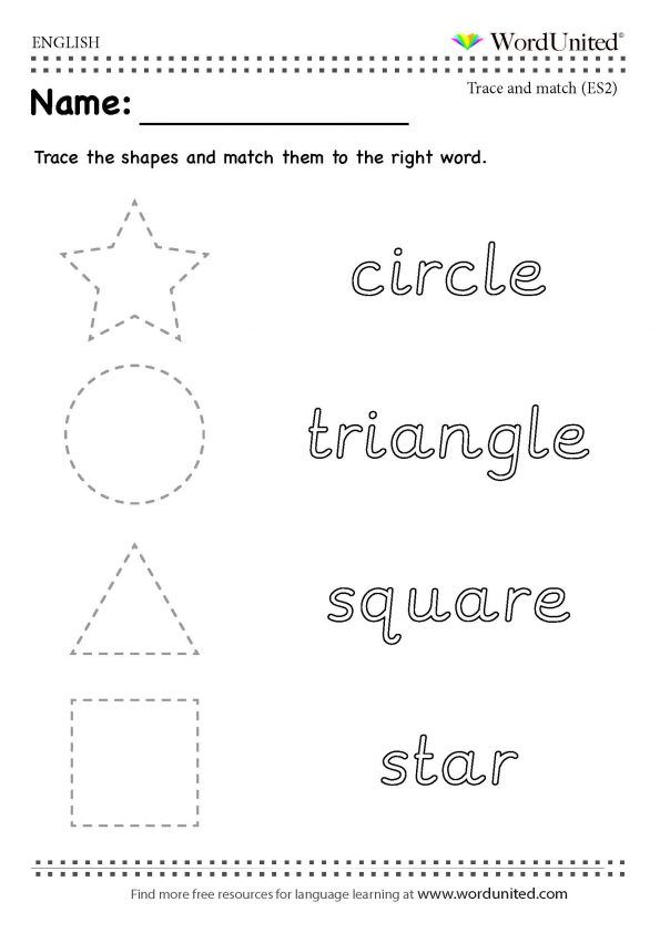 Trace And Match The Shapes In English - WordUnited #shapes#English#trace#match#kids#parenting#fun#WordUnited#teaching#ear…  Shapes, Good Parenting, Worksheets Free