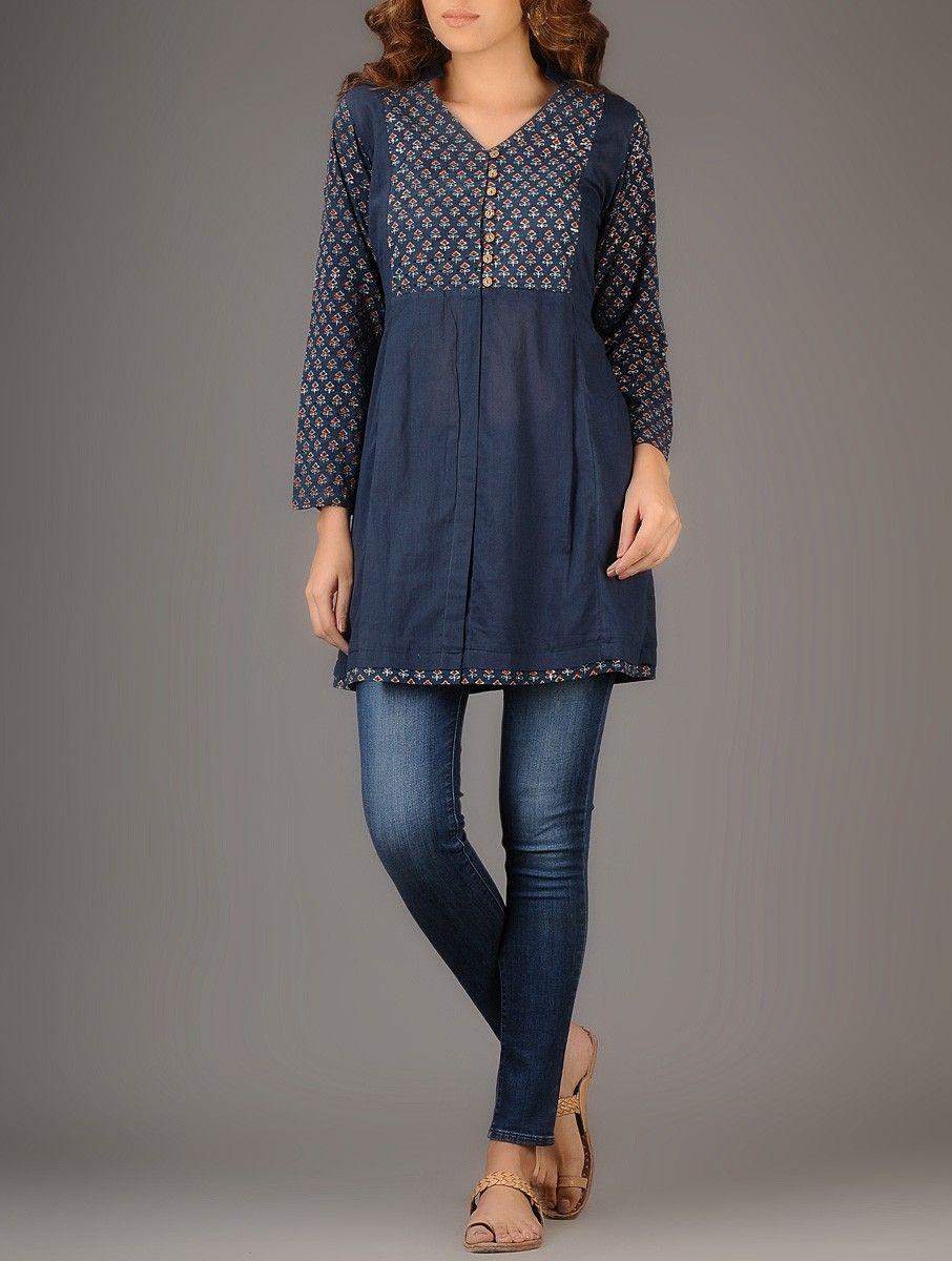 Buy Indigo Red Ajrakh printed Pleated Cotton Tunic Women Tunics ...