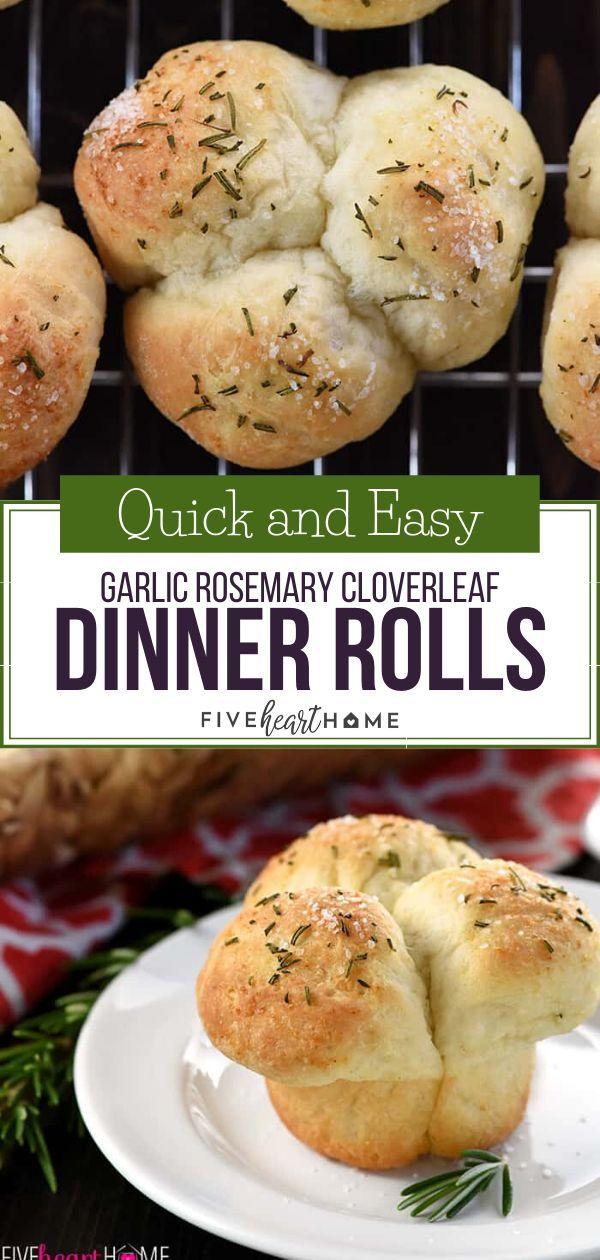 Quick & Easy Garlic Rosemary Cloverleaf Dinner Rolls
