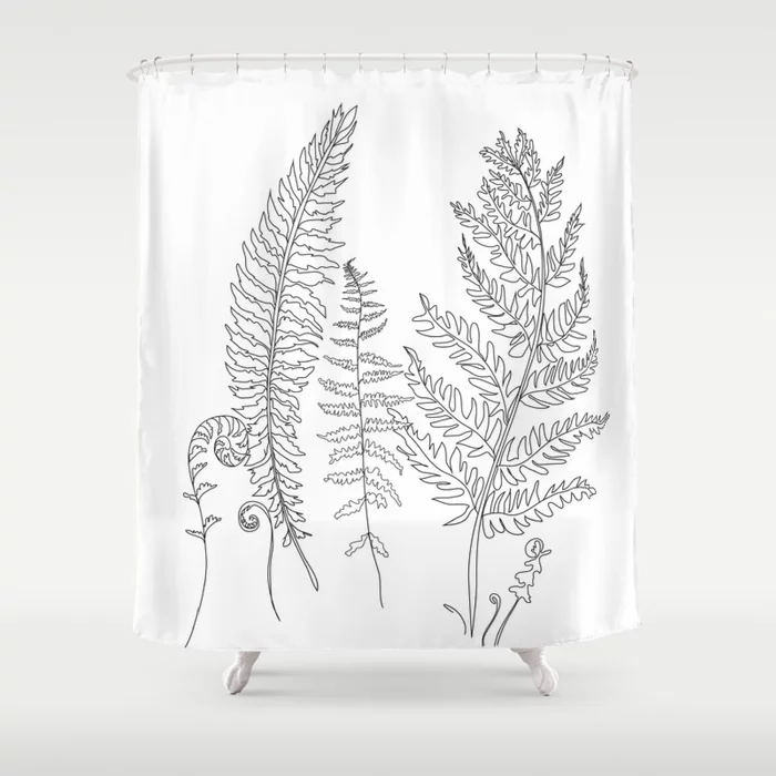 Minimal Line Art Fern Leaves Shower Curtain By Nadja1 Society6 Cutegiftideas Gift Showercurtain Line Art Unique Shower Curtain Curtains